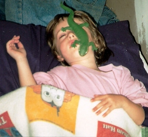 Daughter sleeping in 1996--maybe I shouldn't have let her twin brother choose the picture!